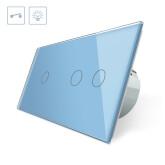 Interruptor 2 módulos táctil, 3 botones, frontal azul