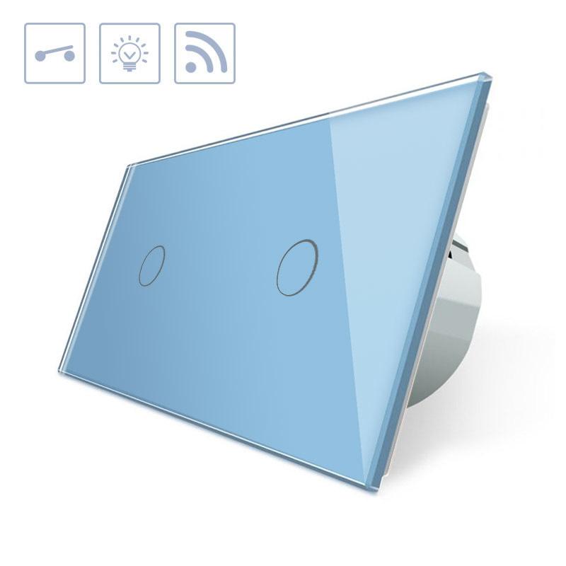 Interruptor táctil + remoto, 2 botones, frontal azul