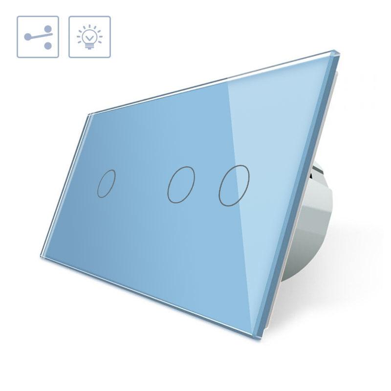 Conmutador 2 módulos táctil, 3 botones, frontal azul