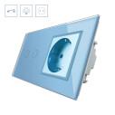 Interruptor táctil, 2 botones + 1 enchufe, frontal azul