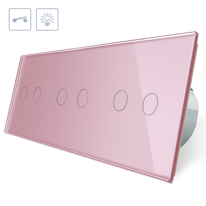 Interruptor táctil 6 botones, frontal rosa