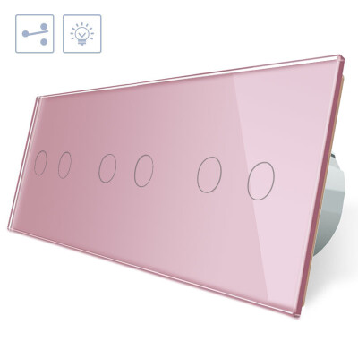 Conmutador táctil, 6 botones, frontal rosa