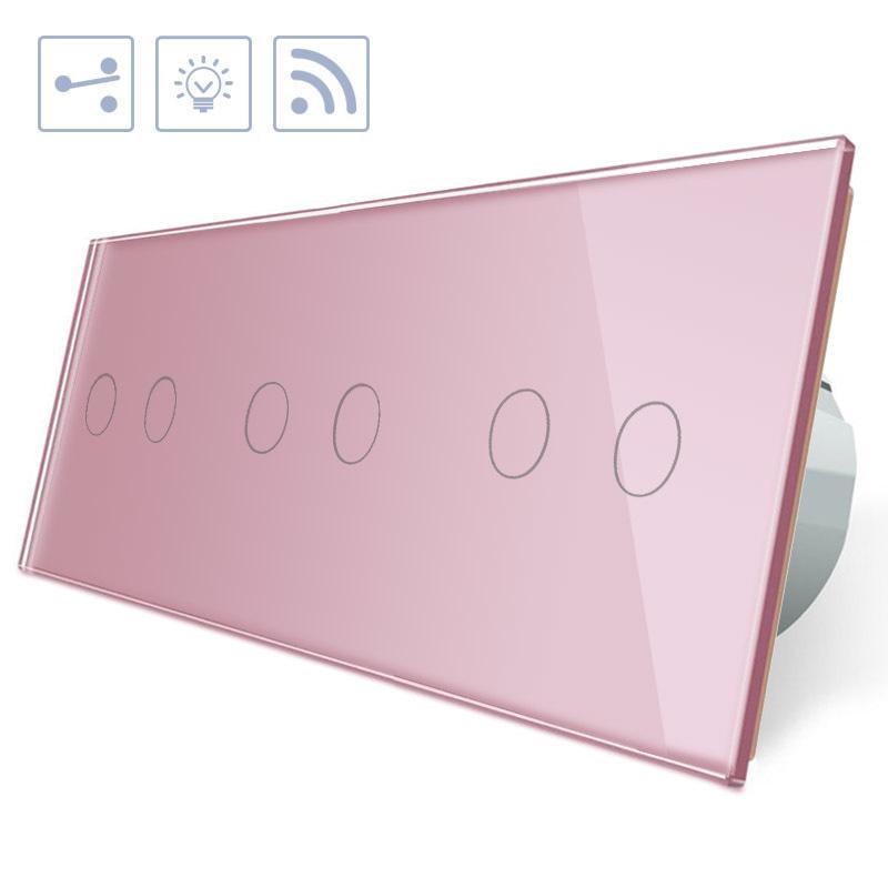 Conmutador táctil + remoto, 6 botones, frontal rosa