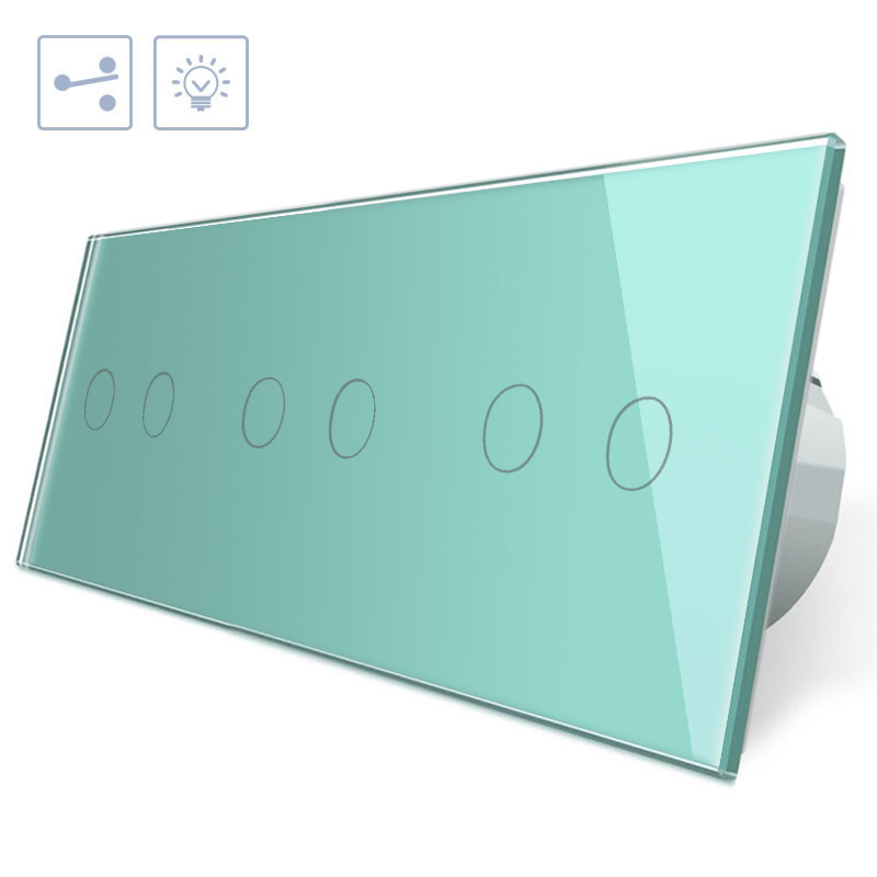 Conmutador táctil, 6 botones, frontal verde