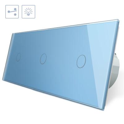 Conmutador 3 módulos táctil, 3 botones, frontal azul