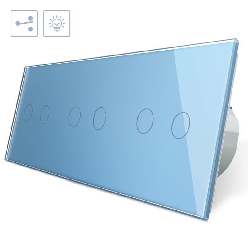 Conmutador táctil, 6 botones, frontal azul