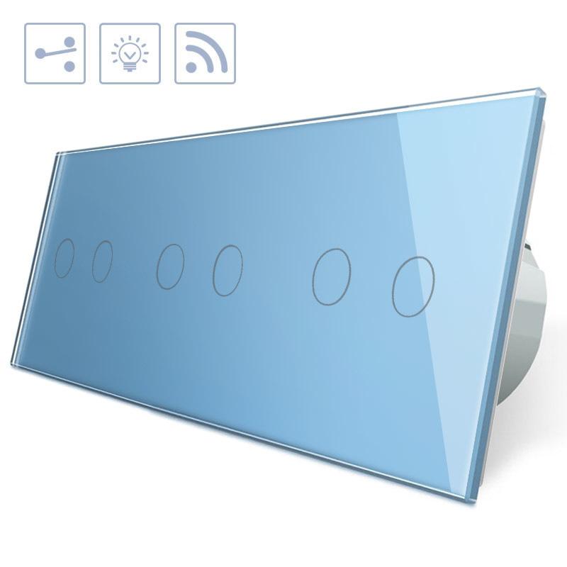 Conmutador táctil + remoto, 6 botones, frontal azul