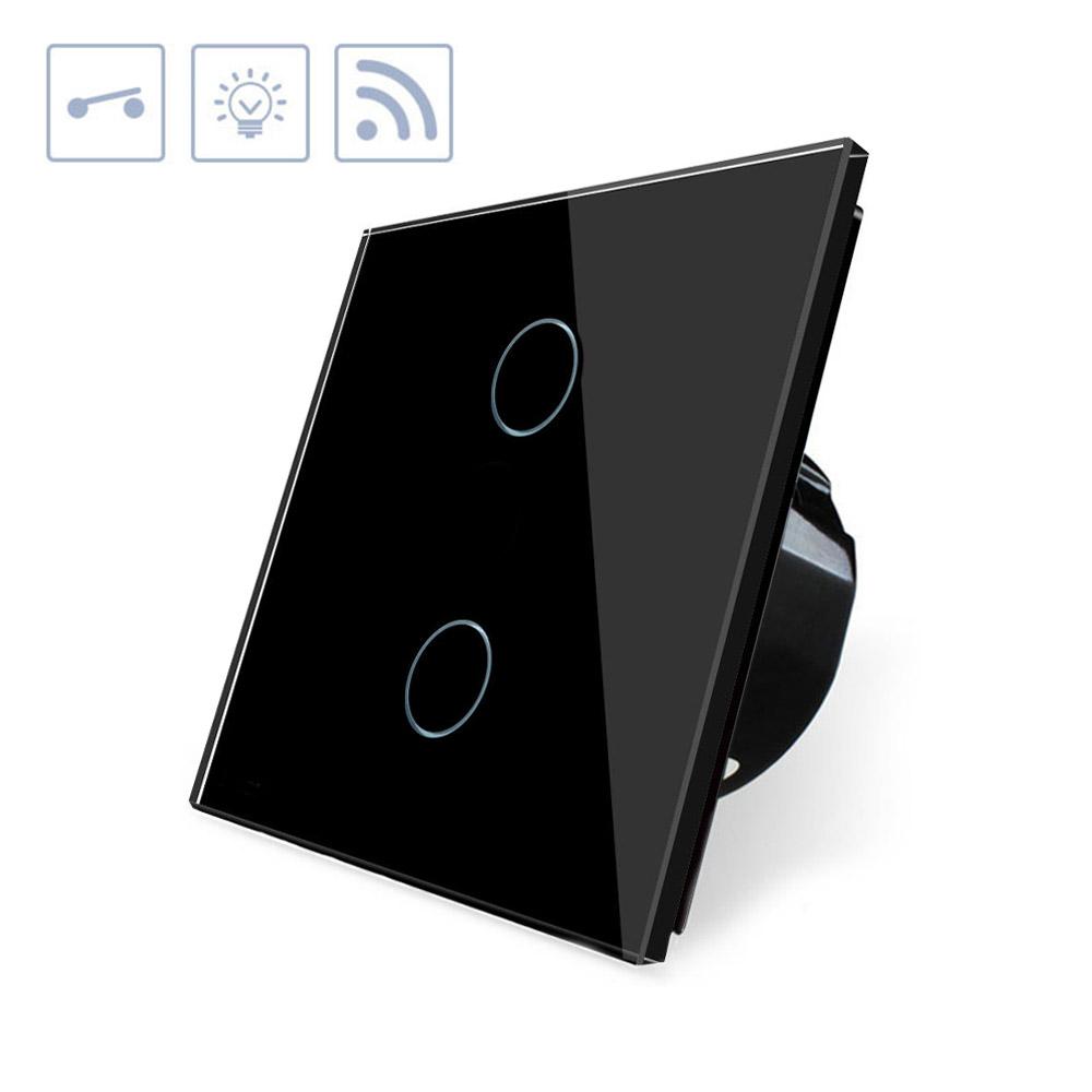 Interruptor táctil doble WiFI-Voz, negro