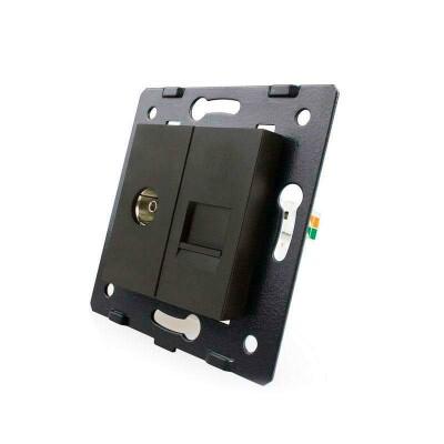 Mecanismo de empotrar TV + Teléfono RJ11, negro