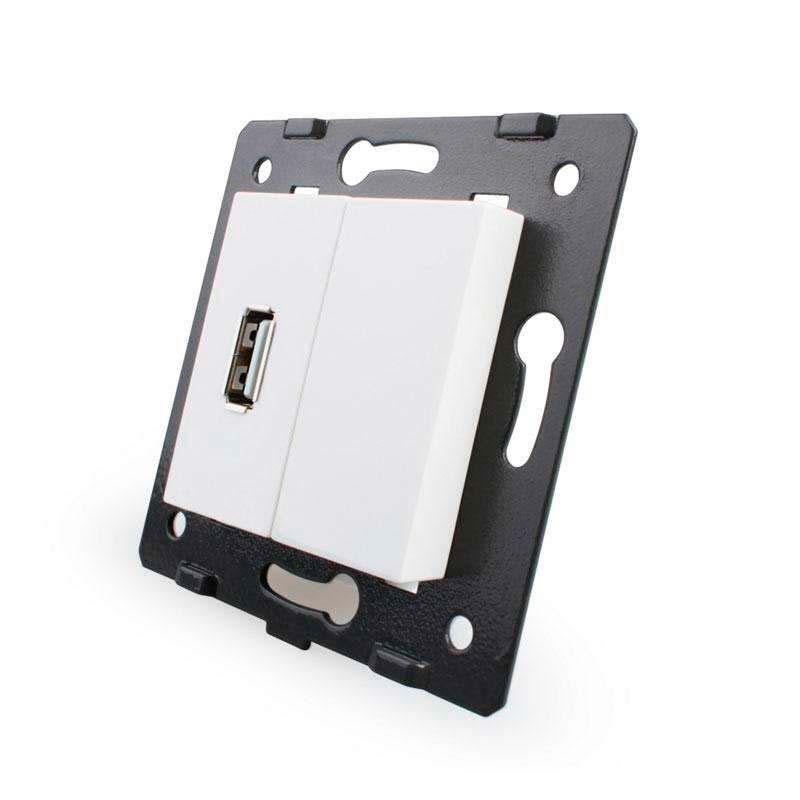Base enchufe USB, blanco