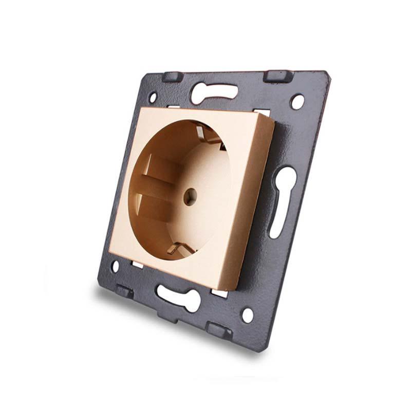 Mecanismo de empotrar Enchufe EU 16A tipo Schuko, golden
