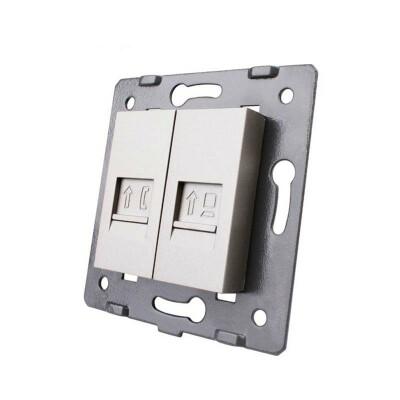 Mecanismo de empotrar Teléfono RJ11 + Red RJ45, gris