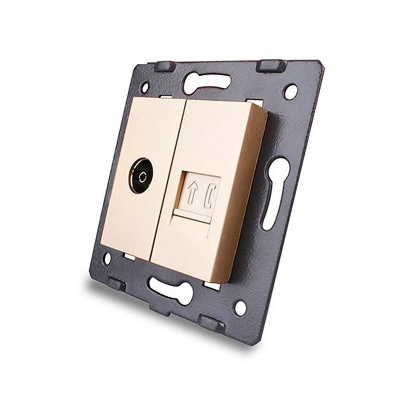 Mecanismo de empotrar TV + Teléfono RJ11, golden