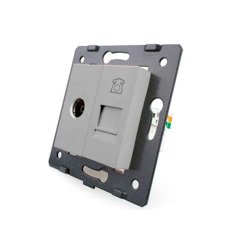 Mecanismo de empotrar TV + Teléfono RJ11, gris