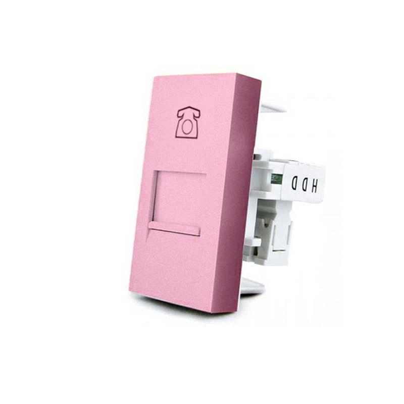 Conector Teléfono RJ11 rosa para mecanismo de empotrar