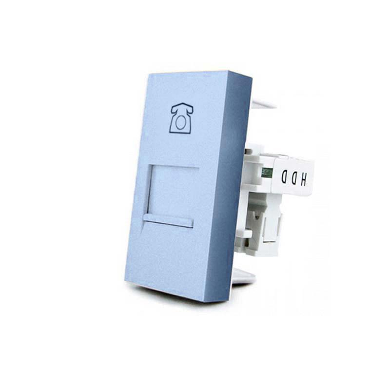 Conector Teléfono RJ11 azul para mecanismo de empotrar