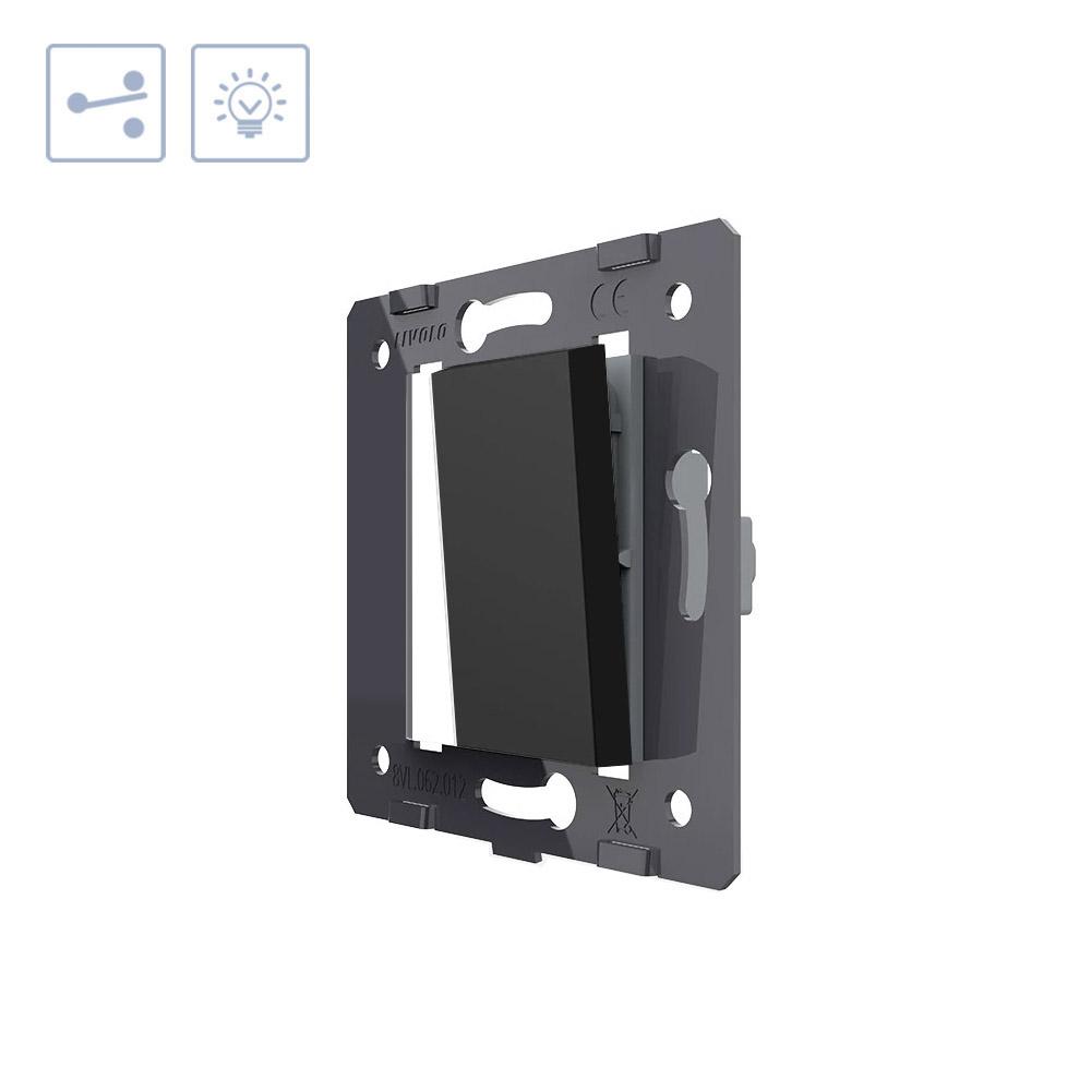 Interruptor Conmutador media tecla, negro