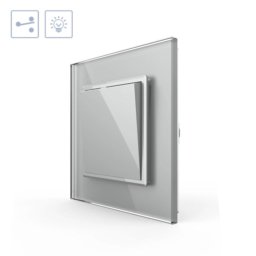 Interruptor Conmutador, marco gris