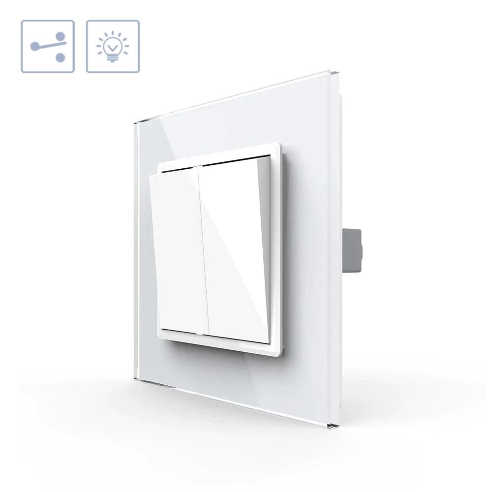 Interruptor Conmutador doble, marco blanco