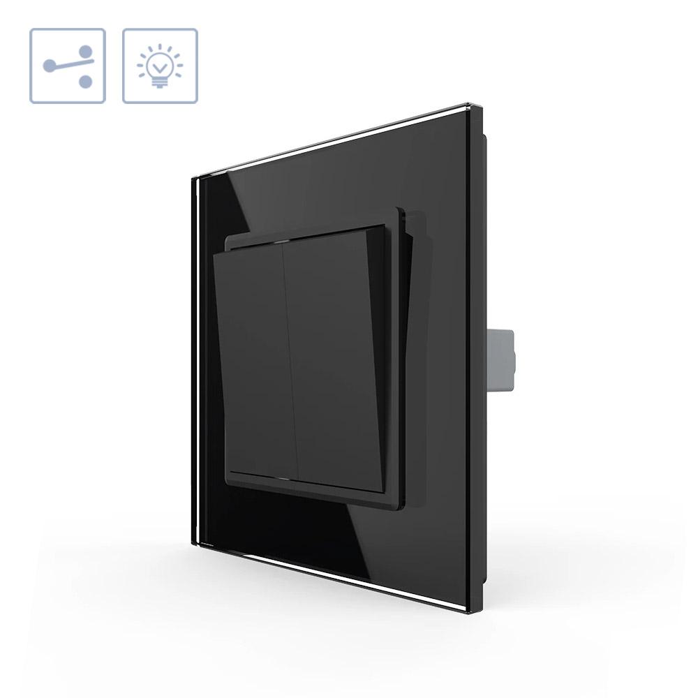 Interruptor Conmutador doble, marco negro