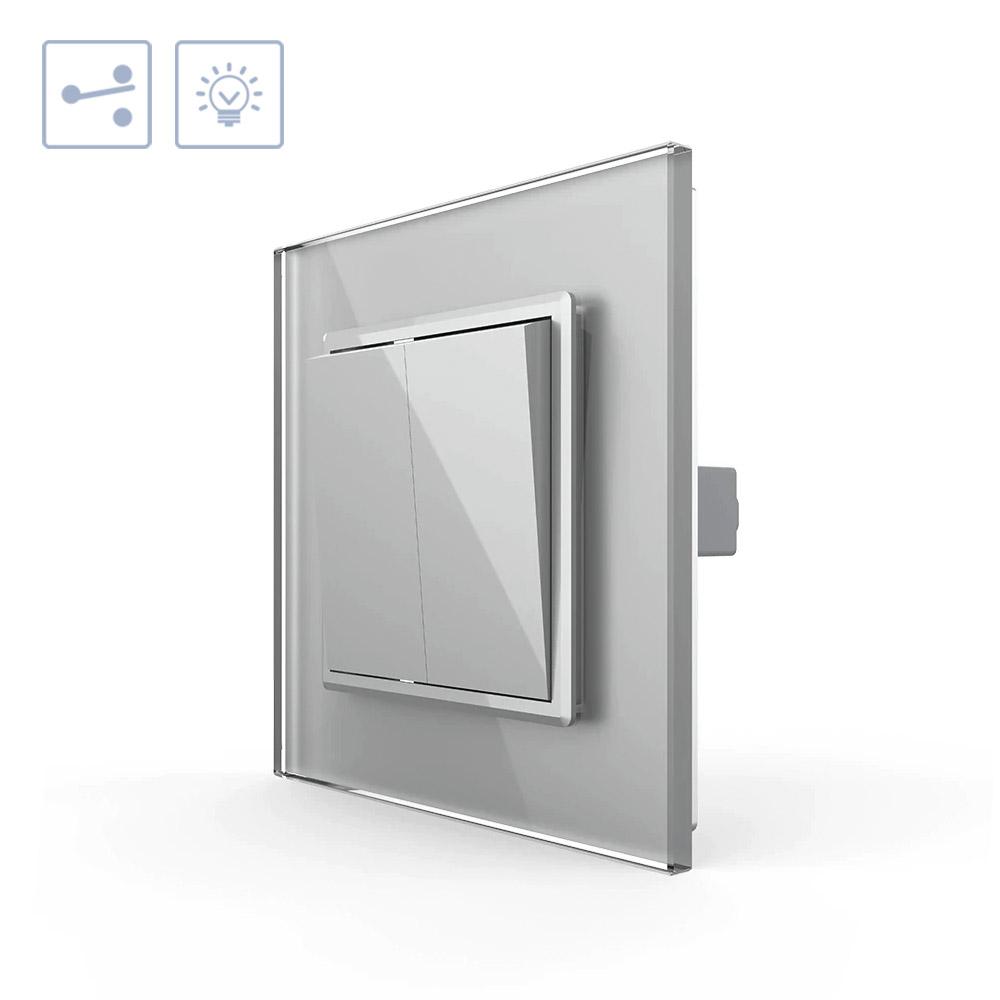 Interruptor Conmutador doble, marco gris