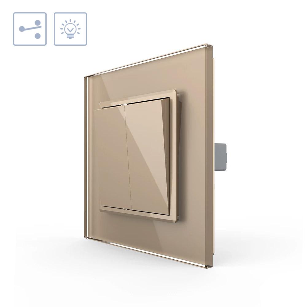 Interruptor Conmutador doble, marco golden