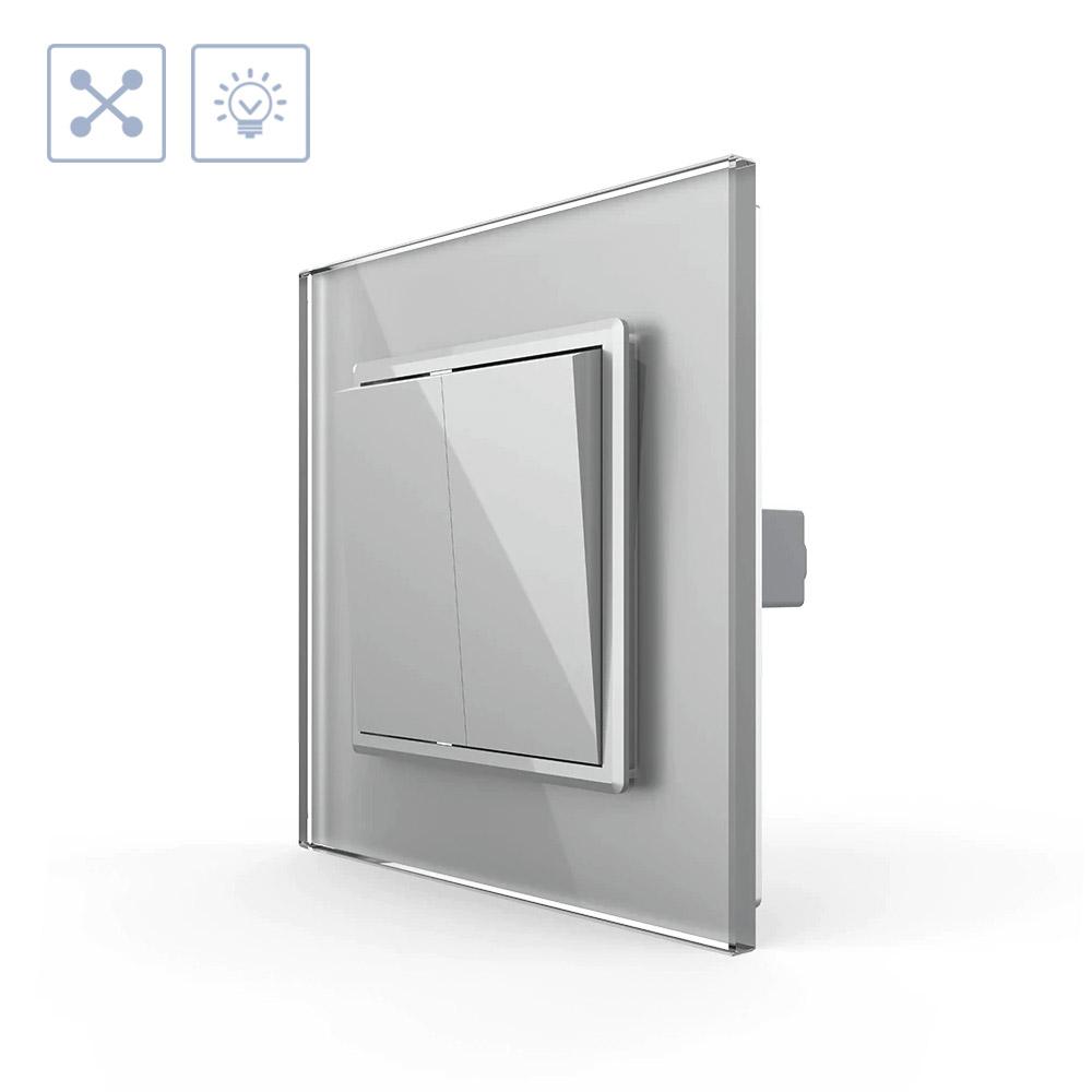 Interruptor Cruzamiento doble, marco gris