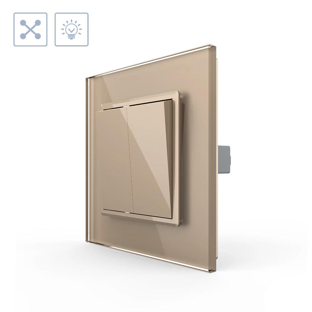 Interruptor Cruzamiento doble, marco golden