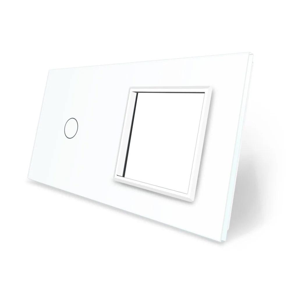 Frontal 2x cristal blanco, 1 hueco + 1 botón