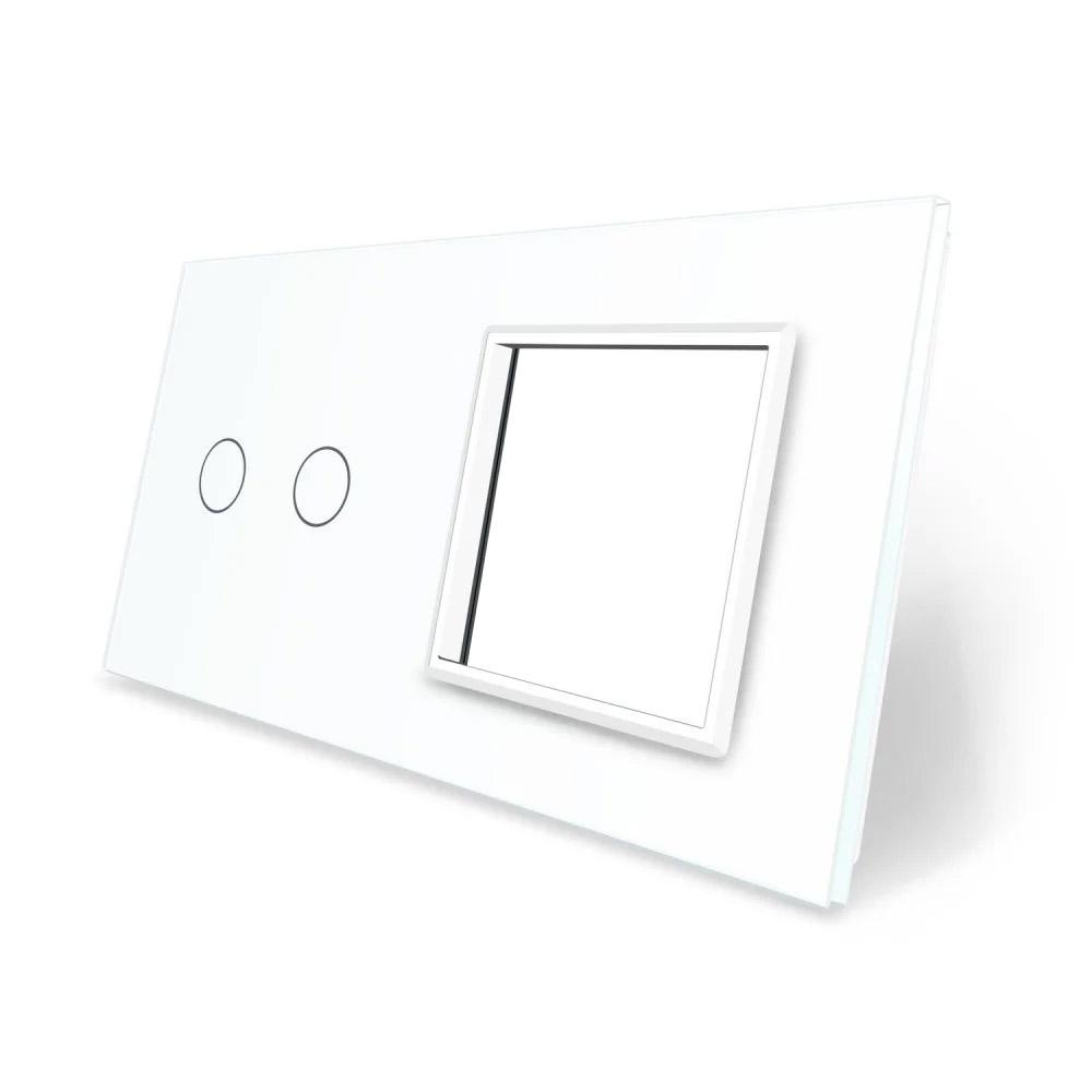 Frontal 2x cristal blanco, 1 hueco + 2 botones