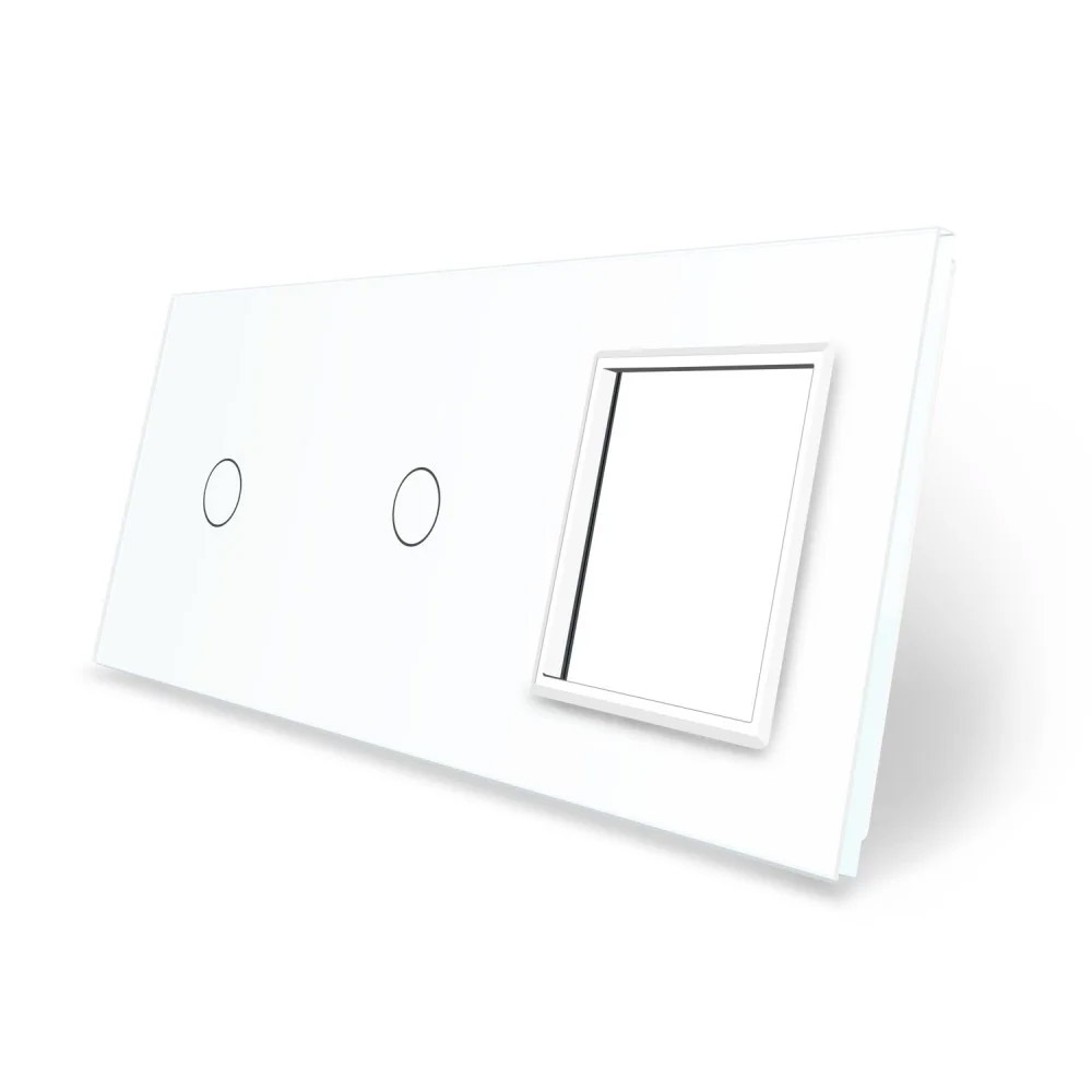 Frontal 3x cristal blanco, 1 hueco + 2 botones