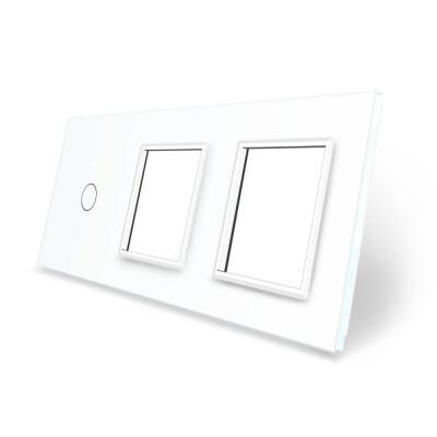Frontal 3x cristal blanco, 2 huecos + 1 botón