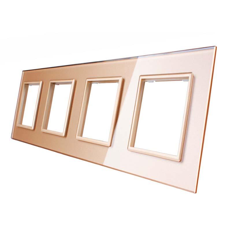 Frontal 4x cristal golden, 4 enchufes