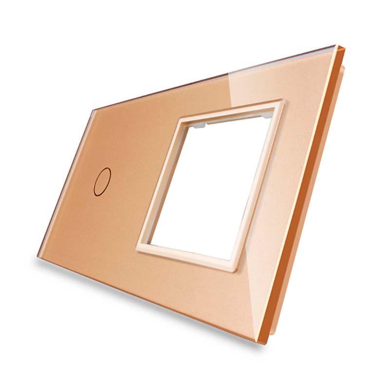 Frontal 2x cristal golden, 1 hueco + 1 botón