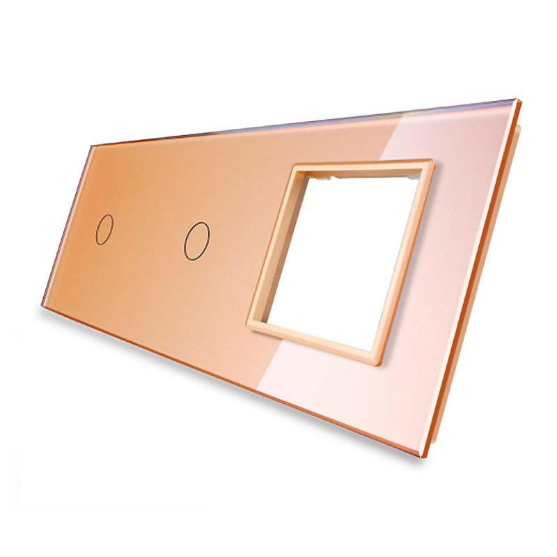 Frontal 3x cristal golden, 1 hueco + 2 botones
