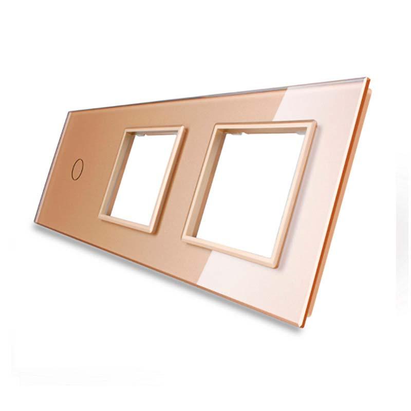 Frontal 3x cristal golden, 2 huecos + 1 botón