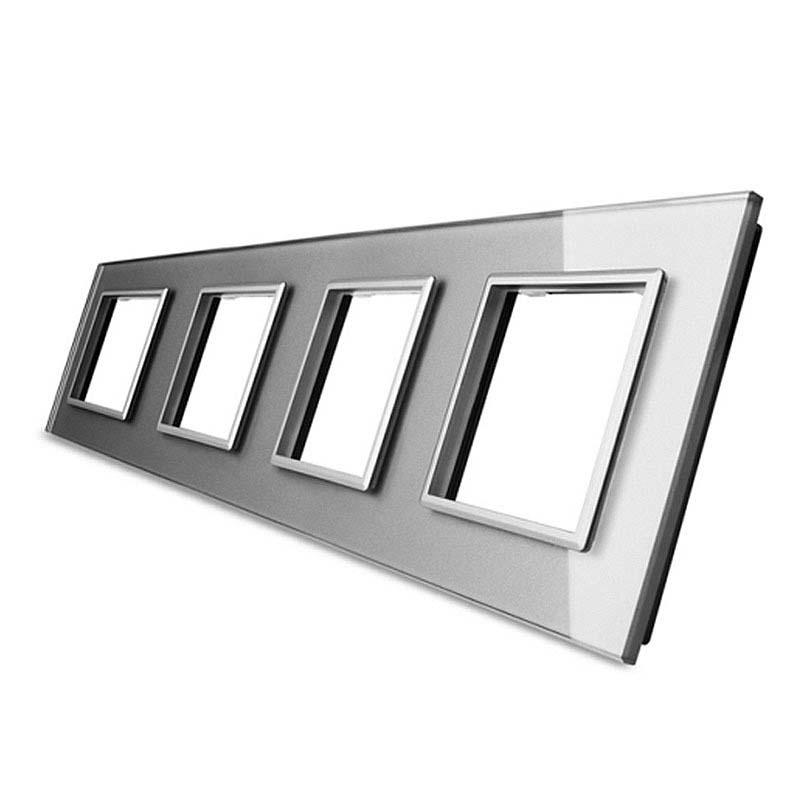 Frontal 4x cristal gris, 4 enchufes