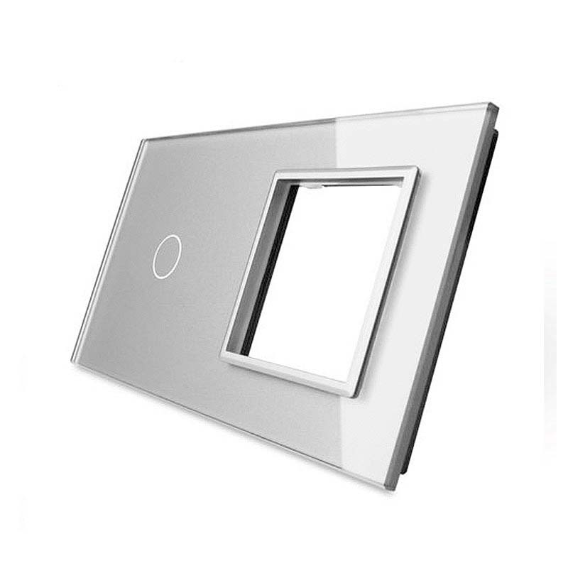 Frontal 2x cristal gris, 1 hueco + 1 botón