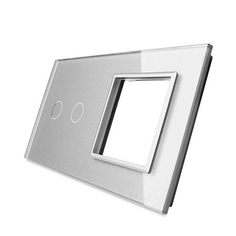 Frontal 2x cristal gris, 1 hueco + 2 botones
