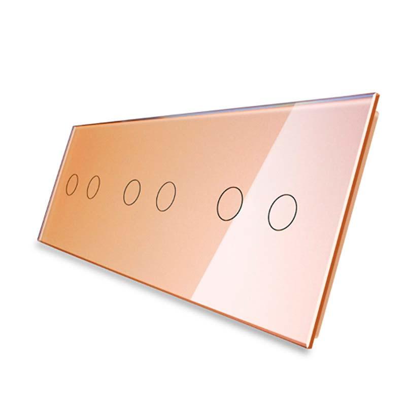 Frontal 3x cristal golden, 6 botones