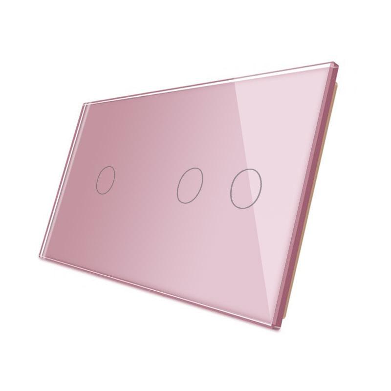 Frontal 2x cristal rosa, 3 botones