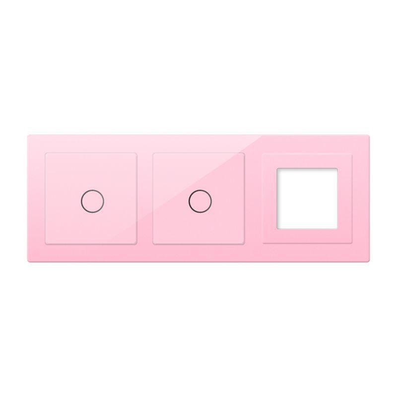 Frontal 3x cristal rosa, 1 hueco + 2 botones