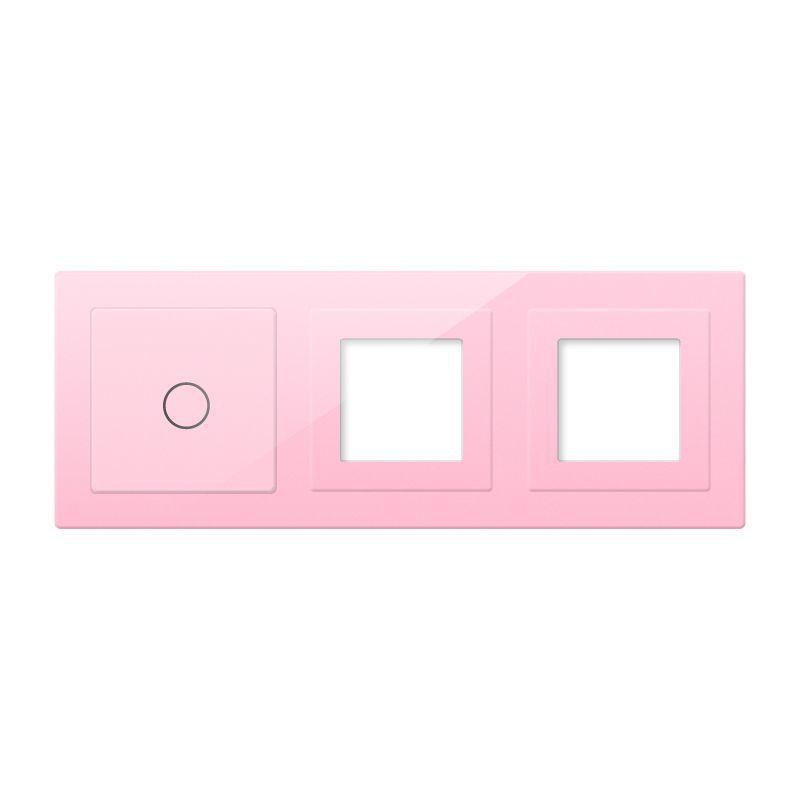 Frontal 3x cristal rosa, 2 huecos + 1 botón