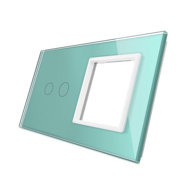 Frontal 2x cristal verde, 1 hueco + 2 botones