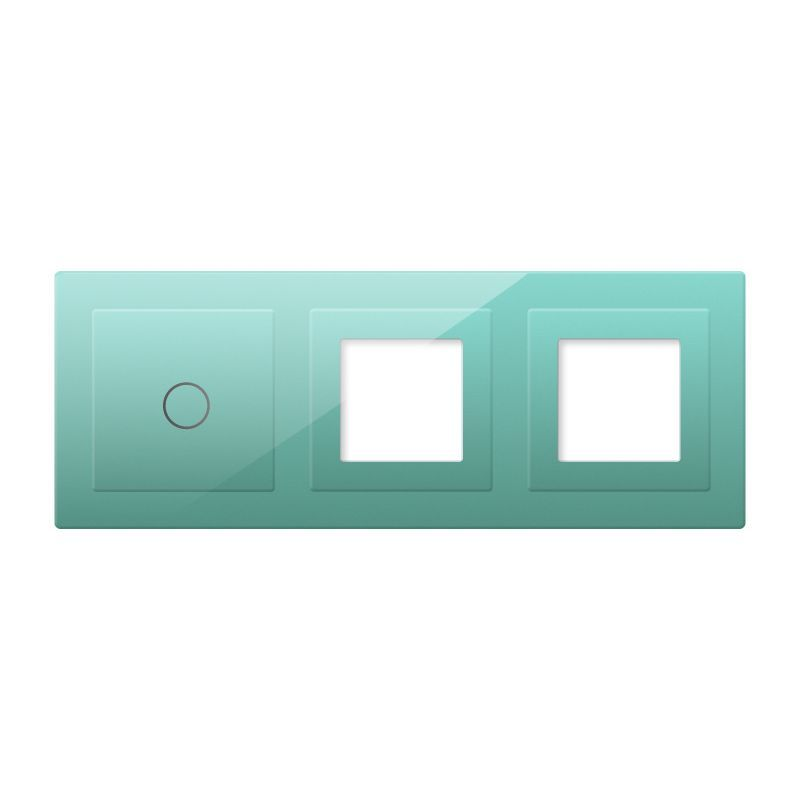 Frontal 3x cristal verde, 2 huecos + 1 botón