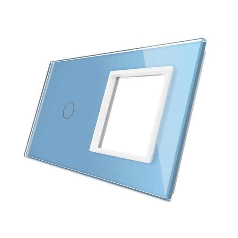 Frontal 2x cristal azul, 1 hueco + 1 botón
