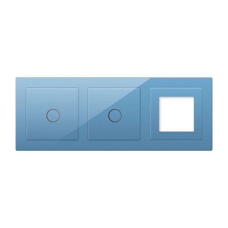 Frontal 3x cristal azul, 1 hueco + 2 botones