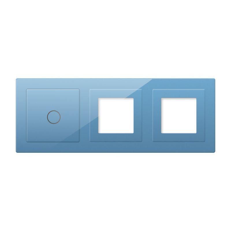 Frontal 3x cristal azul, 2 huecos + 1 botón