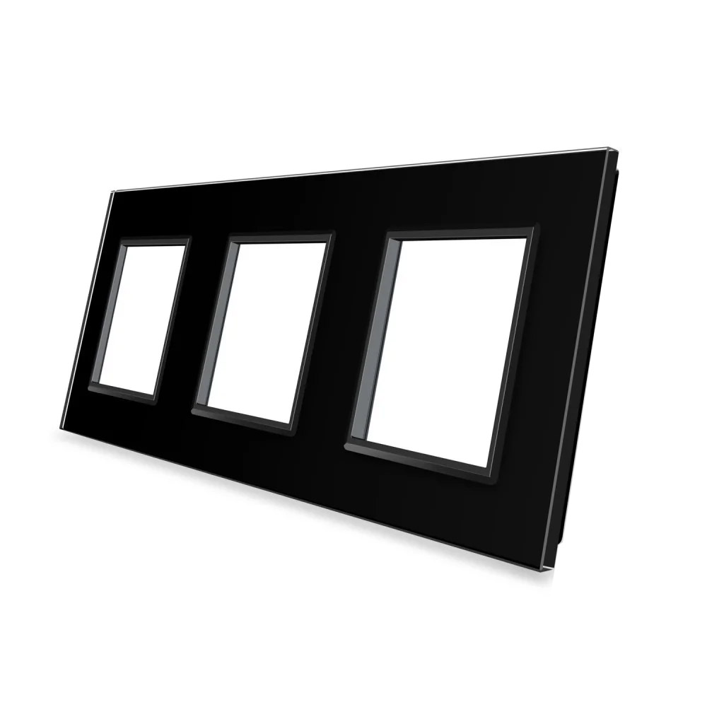 Frontal 3x cristal negro, 3 enchufes