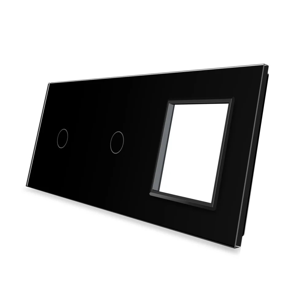 Frontal 3x cristal negro, 1 enchufe + 2 botones